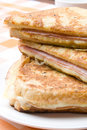 Toasted cheese and ham sandwiches Royalty Free Stock Images