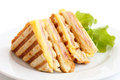 Toasted ham and cheese panini. Royalty Free Stock Photo