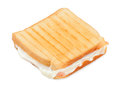 Toasted sandwich with ham and cheese on white background Stock Photography