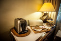 Toaster on table arrangement for breakfast Royalty Free Stock Images