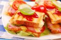 Toasts with cheese,bacon and tomato Royalty Free Stock Photography