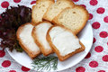 Toasts with cheese spread Royalty Free Stock Photography