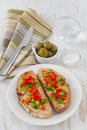 Toasts with cut pepper Royalty Free Stock Photo