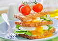 Toasts with egg poached on plate Stock Image
