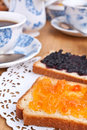 Toasts with jam and coffee Royalty Free Stock Photo