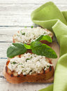 Toasts with soft cheese Royalty Free Stock Photo