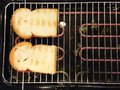 Toasts two toaster hot slice of bread Stock Image