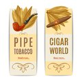 Tobacco Banners Set Royalty Free Stock Photo