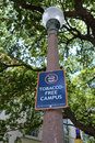 Tobacco free campus sign on college for no smoking reads Royalty Free Stock Photography