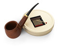 Tobacco pipe and accessories on white d rendered image Royalty Free Stock Photography