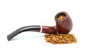 Tobacco pipe of hardwood on a white background Royalty Free Stock Image