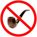 Tobacco pipe no smoking prohibiting sign isolated Royalty Free Stock Image