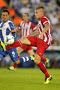 Toby alderweireld of atletico madrid during a spanish league match againts rcd espanyol at the estadi cornella on october in Royalty Free Stock Photography