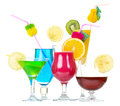 Tock image of alcohol cocktails over white background Royalty Free Stock Image