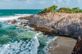 Toco Trinidad and Tobago West Indies rough sea beach cliff edge panorama Royalty Free Stock Photo