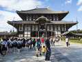 Todai ji temple main hall at nara visitors buddhist in japan Royalty Free Stock Images