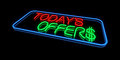 Today s offers sign neon lights Stock Photography
