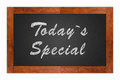Today s special written with chalk on a isolated blackboard with wooden frame Royalty Free Stock Photography