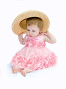 Toddler with big hat Royalty Free Stock Photo
