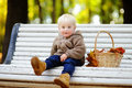 Toddler boy in autumn park Royalty Free Stock Photo