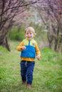 Toddler boy in blooming garden Royalty Free Stock Photo
