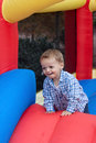 Toddler Boy in Bounce House Royalty Free Stock Images