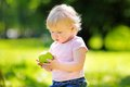 Toddler boy eating fresh green apple Royalty Free Stock Photo
