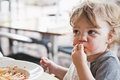 Toddler Boy Eating Pasta Royalty Free Stock Images