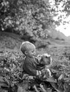 Toddler boy enjoy autumn with dog friend. Small baby toddler on sunny autumn day walk with dog. Warmth and coziness Royalty Free Stock Photo