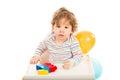 Toddler boy playing Royalty Free Stock Photo