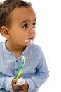 Toddler brushing teeth Royalty Free Stock Photo