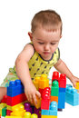 Toddler building a castle Royalty Free Stock Photos