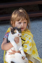 Toddler and cat Royalty Free Stock Photo