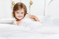 Toddler covered with white blanket Royalty Free Stock Photo