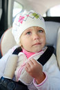 Toddler crying in car girl seat Royalty Free Stock Photography