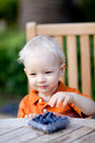 Toddler eating berries Stock Images