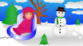 Toddler enjoying winter child riding in a sled in a wonderland Royalty Free Stock Photo