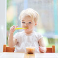 Toddler girl eating fruit puree cute little blonde delicious sitting in the kitchen in a high feeding chair next to a big window Stock Image