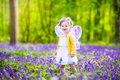 Toddler girl in fairy costume in bluebell forest adorable with curly hair wearing a with purple wings and yellow dress is playing Royalty Free Stock Photo