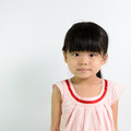 Toddler girl portrait of little asian child on white background Stock Photos