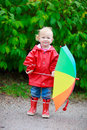 Toddler girl with umbrella Stock Photography