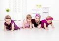 Toddler girls crawling Stock Photo