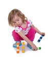 Toddler learning skills paying attention to colorful crayons isolated white copy space Stock Image