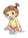 A toddler with a pacifier illustration of on white background Stock Photo