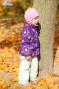 Toddler in the park posing for pictures autumn Royalty Free Stock Photo
