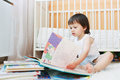 Toddler reading books Royalty Free Stock Photo