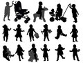 Toddler silhouettes collection and babies Stock Photos