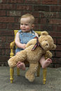 Toddler and Teddy Royalty Free Stock Photography