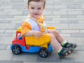 Toddler in the truck Royalty Free Stock Images