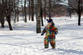 Toddler walking in park the winter Stock Photography